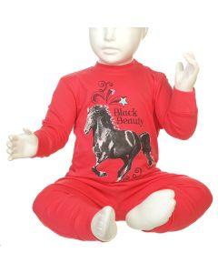 MEISJESPYJAMA HORSE FUCHSIA