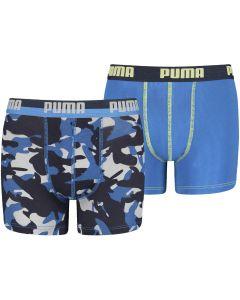 PUMA 2-PACK JONGENS BOXERSHORT BLAUW CAMOUFLAGE & BLAUW